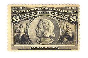 US Scott #245 $5 Columbian Black Mint Hinged No Gum