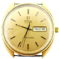 OMEGA SEAMASTER DATE-DAY QUARTZ GOLD DIAL 14K G.F. WATCH HEAD FOR PARTS/REPAIRS
