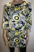 Hot Options Brand Yellow Black Grey 3/4 Sleeve Tunic Top Size 10 BNWT #TP83