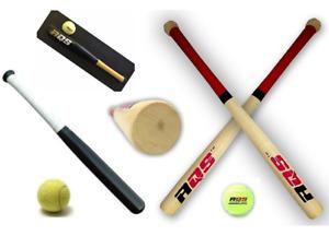 "17"" / 18"" Rounders Baseball Bat With Soft Tennis Ball Kids Wooden Play Set Sport"