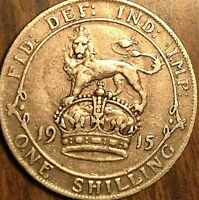 1915 GREAT BRITAIN GEORGE V SILVER SHILLING COIN - Excellent example!