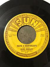 Elvis 45 SUN 215 Milkcow Blues Boogie You're a Heartbreaker Pushmarks VG Rare