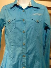 Ed Hardy By Christian Audigier Blue Snap Button Women Long sleeve Flip cuff