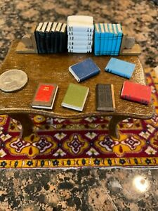 Vintage miniature dollhouse library books with German made metal bookends