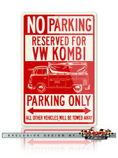 Volkswagen Kombi Pickup Closed Bed Reserved Parking Only 12x18 Aluminum Sign