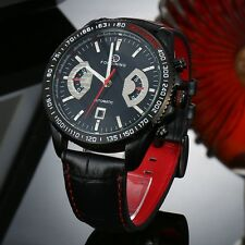 FORSINING Classic Black Red Automatic Watch Men Military Real Genuine Leather St
