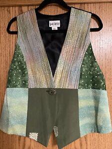 YASUKO Women's Art To Wear One-Of-A-Kind Kimono Silk Patchwork Vest size M/L