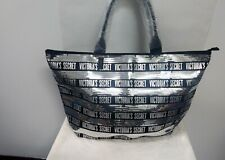 Victoria's Secret Tote Bag Purse Silver Black Sequin 2pc