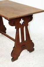Antique French Solid Oak Gothic Ogee Writing Desk Table Bureau Plat Trestle
