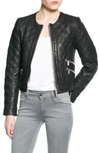 MANGO QUILTED LEATHER JACKET SIZE: S , M , L