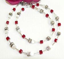 Halskette Kette Collier 4mm Cube Cat Eye weiß Kristallglas dunkelrot Strass 502m