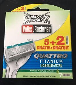 7x Wilkinson Sword Quattro Titanio Sensibile Lamette rasoio NUOVO