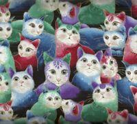 Cat i tude II sweetheart cats metallic multi Benartex fabric