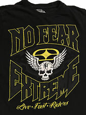 NO FEAR EXTREME Live Fast Riders Black T-Shirt Sz.S