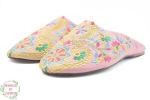 Moroccan Embroidered babouche Handmade Slippers babouche comfy sheepskin Morocco