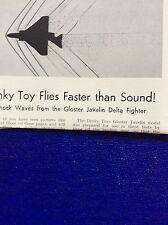 m9-2 ephemera 1955 article dinky toys gloster javelin delta fighter