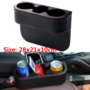 Car Seat Left   Right Gap Storage Box Black PU Leather Cup Holder Storage Bag X1