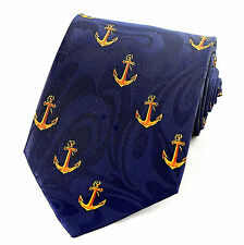 Ship Anchor Mens Neck Tie Nautical Boat Sea Military Anchors Navy Blue Necktie
