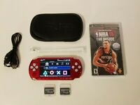 PSP-3000 Red Sony PlayStation Portable W/Extras & NBA 10 The Inside UMD