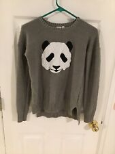 Oh MG Loose Knit Panda Sweater - Size Medium - Gray