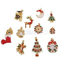 Lots 11pcs Christmas Mixed Gold Plated Enamel Pendant Charms Jewelry Finding