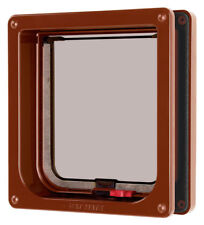 Lockable Cat Flap & Liner Brown 16.5x17.4cm