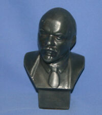 Vintage Russian Metal Art Work Male Bust Sculpture Lenin Signed