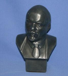 Vintage Russian Metal Art Work Male Bust Sculpture Lenin Signed