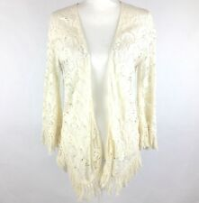 BILLABONG Women's Cardigan Sz M Open Front Boho Sweater Fringe Sheer Ivory