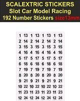 192 Slot car Scalextric race number stickers Model 1/32 13mm self adhesive vinyl