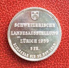 Suisse -  Rare et Magnifique monnaie de 5 Francs 1939 - Zurich