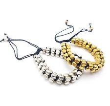 Belly Dance Bead Wrap Bracelet Snake Statement Adjustable 2 Colors Silver Plated