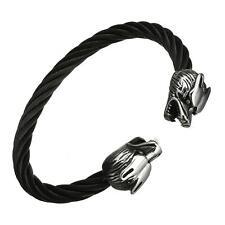 Uomo: gioielli in acciaio INOX TWISTED Cavo WOLF Bracciale Tono Nero