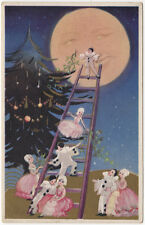 Chiostri Artwork Postcard Pierrot Kids Decorating Christmas Tree Fantasy Moon