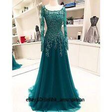 Elegant Teal Green Long Sleeve Prom Dress Appliques Tulle Formal Evening Dresses