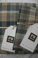 Pottery Barn Dorm Bed TWIN XL Duvet & 2 Pillowcases Set Black Plaid No Sham Boys