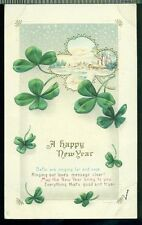 Bells Are Ringing Far And Near Large Clovers Scene Vintage New Year Postcard