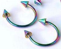 18g 5/16 Spike Rainbow Titanium Circular 2PC New Horseshoe Ear Nose Targus Cone