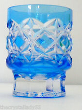 1 Faberge Na Zdorvye azure blue cut to clear crystal whiskey rocks dof Signed