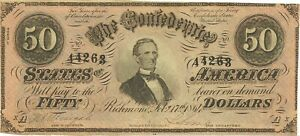 1864 $50 CONFEDERATE CIVIL WAR CURRENCY ~ JEFFERSON DAVIS ~ CHOICE ABOUT NEW