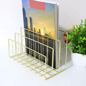 Desktop File Organizer 3 Slots Metal Iron Wire Mail Sorter Letter Magazines NEW