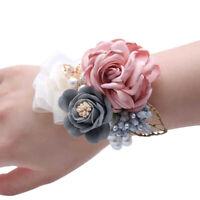 Brautjungfer Blumen Armband Hochzeit Korsage Handgelenk Perlen Schmuck Deko NEU