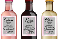Set of 12 MINI Wine Labels Bridesmaid Wedding Party Maid of Honor Printed Ship