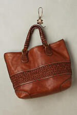 $348 New Anthropologie Theodora Braided Brown Leather Large Tote Bag Tangerine