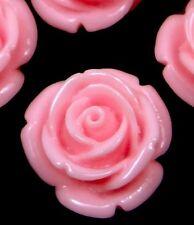 20mm Resin Coral Rose Flower Flatbacks Scrapbooking Cabochons  - Pink (8)