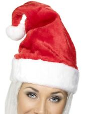 Christmas Deluxe Fur Santa Hat in Red with White Pompom