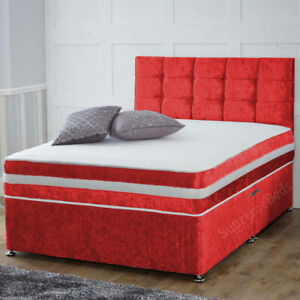 New Crushed Velvet Divan Bed with Headboard and Mattress Single Double King 4ft6
