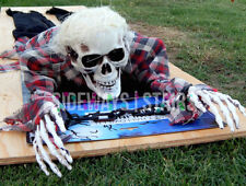 CRAWLING SKELETON animated prop Halloween decoration plaid shirt zombie creepy