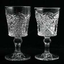 Alfa Euclid Antique Wine Glass Higbee Glass Co 1908 EAPG Pressed Glass Pair