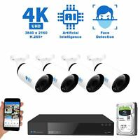 8 Channel NVR (4) 4K AI Face Detection Varifocal IP Security Cameras System 8TB